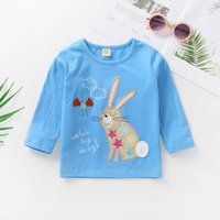 Cute Rabbit Appliqued Long-sleeve Top in Blue for Baby Girl