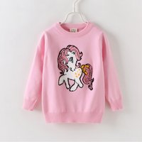 Cute Pony Applique Long-sleeve Sweater for Toddler and Kid