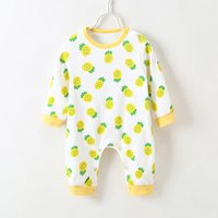Adorable Allover Pineapple Splice Long-sleeve Jumpsuit for Baby