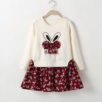 Cute Rabbit Pattern Floral Big Bow Splice Long-sleeve Dress