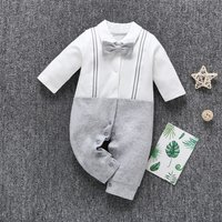 Baby Boy Gentleman Faux-two Bow Tie Jumpsuit