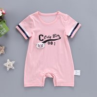 Cute Pig Applique Short Sleeves Jumpsuit for Baby