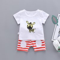 Stylish Zebra Print Short-sleeve Tee and Striped Shorts Set for Baby