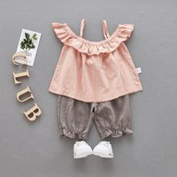 2-piece Ruffle Open Shoulder Top and Pants Set for Baby Girl
