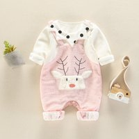 Adorable Faux-two Reindeer Embroidered Dotted Jumpsuit for Baby