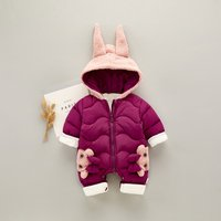 Warm Bunny Fleece-lining Bow Decor Hooded Jumpsuit for Baby