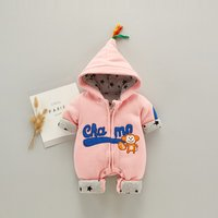 Warm Monkey Applique Hooded Lined Long-sleeve Jumpsuit for Baby
