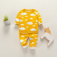 Super Lovely Cloud Patterned Long-sleeve Top and Pants Set for Baby