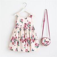 Toddler Girl's Rose Pattern Strap Dress with Bag