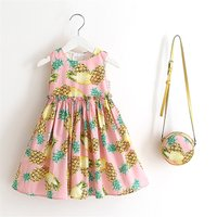 Toddler Girl's Pineapple Pattern Pleated Strap Dress with Bag