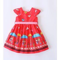 Pretty Cartoon Girl Print Cap Sleeves Dress for Girls