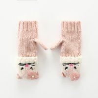 Soft Embroidered Cat Flower Detail Mittens for Toddler and Kid