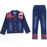 2-piece Trendy Sequined Lip Applique Long-sleeve Denim Top and Jeans for Girls