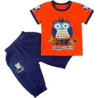 Trendy Owl Print Short-sleeve Tee and Shorts Set for Toddler Boy and Boy