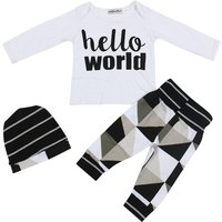 Baby Boy's 'Hollow World' Long Sleeve Tee, Pants and Hat Set (3-piece)