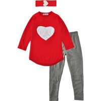 Love Print Tee and Leggings Set with Hairband for Girls