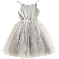 Baby and Toddler Pretty Mesh Contrast Sleeveless Dress in Grey