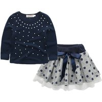Sweet Dotted T-shirt and Bow Skirt Set for Girl