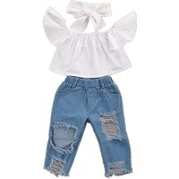 3-piece Stylish Off-shoulder Top and Jeans and Headband Set for Baby and Toddler Girl