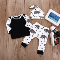 3-piece Comfy Bear Print Top Pants and Hat Set for Toddler Boy