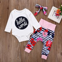 3-piece Baby Girl's Letters Floral Print Long-sleeve Bodysuit Pants and Headband