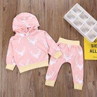 Baby Girl's Comfy Deer Print Hooded Top and Pants Set in Pink