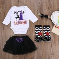 4-piece FIRST Halloween Bodysuit, Tulle Skirt, Oversleeves and Headband Set for Baby and Toddler Gir