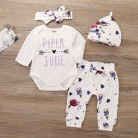 4-piece Trendy Letter Print Long-sleeve Romper, Floral Pants, Headband and Hat Set for Baby Girl