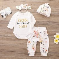 4-piece Pretty Letter Print Romper, Floral Pants, Headband and Hat Set for Baby Girl