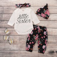 4-piece Beautiful Letter Print Romper, Floral Pants, Headband and Hat Set for Baby Girl