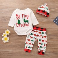 3-piece Stylish Christmas Graphic Print Romper, Pants and Hat Set for Baby