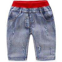 Boy's Ripped Denim Shorts in Blue
