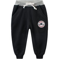Comfy Cotton Sporty Pants with Rib Cuff for Little Boys