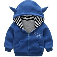 Cute Shark Print Hooded Coat for Baby Boy and Boy