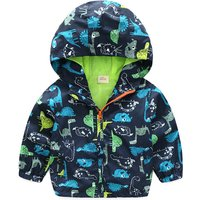 Lovely Dino Print Hooded Coat for Baby and Toddler Boys