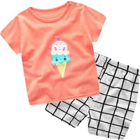 2-piece Ice Cream Print Short-sleeve Tee and Plaid Pants Set for Toddler Boys