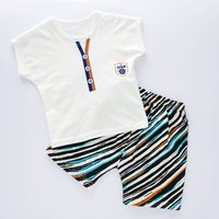 Stylish Button Print Short-sleeve Tee and Striped Shorts Set in White for Toddler Boy and Boy