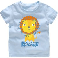 Cute Lion Print Short-sleeve T-shirt for Toddler Boy and Boy
