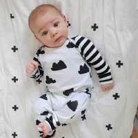 Adorable Cloud Patterned Long Sleeve Jumpsuit for Baby