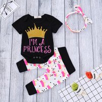 'I'M A PRINCESS' Crown Short Sleeve Bodysuit, Pants and Headband Set for Baby Girls