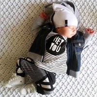 'HEY YOU' Striped Long Sleeve Cotton Top and Bottom Set for Baby and Newborn
