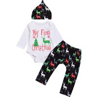 3-piece Christmas Reindeer Print Bodysuit, Pants and Hat for Baby