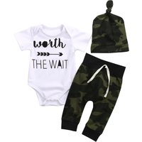 3-piece Cool Letter Print Bodysuit, Camou Pants and Hat Set for Babies