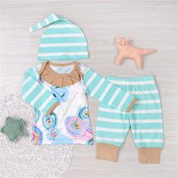 3-piece Printed Stripes Long-sleeve Top Pants and Hat for Baby
