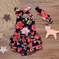 Elegant Floral Ruffle Halter Dress Bodysuit and Headband for Baby Girl