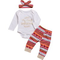 Sequin Letter Bodysuit Geo Pattern Pants and Headband for 12-18 Months Baby