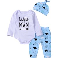 3-piece Letter Print Bodysuit, Bear Pants and Hat Set for Babies and Toddlers