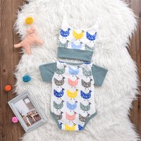 2-piece Cute Hen Print Short Sleeves Bodysuit and Hat for Baby