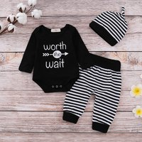 3-piece Comfy Letter Bodysuit Stripes Pants and Headband for Baby