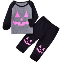 Halloween Pumpkin Print Long Sleeves Top and Pants Set for Baby